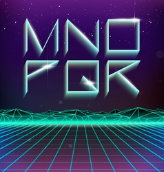 80s Retro Futurism Geometric Font from M to R vector image