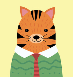 a cartoon portrait a tiger in a sweater vector image