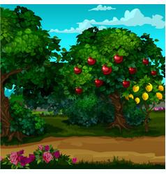 A garden with ripe fruit cartoon close-up vector