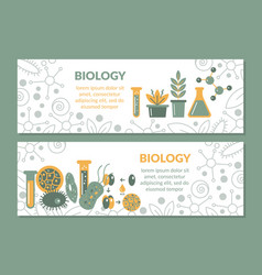 A set scientific biological banners vector