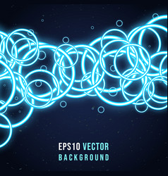 abstract background with blue neon rings vector image