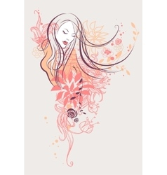 Abstract floral girl vector image vector image