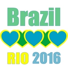 Abstract love heart ribbon flag Brazil Rio 2015 vector