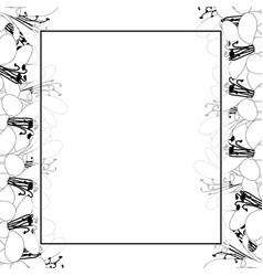 Agapanthus flower outline banner card border vector