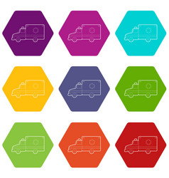 ambulance icons set 9 vector image