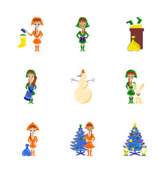 Assembly flat shading style christmas girl vector