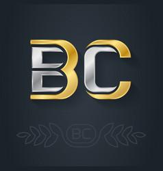 B and c - initials bc - metallic 3d icon vector