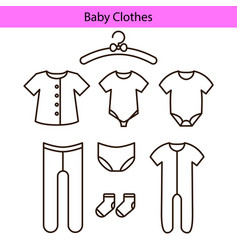 Baby clothes line icons vector