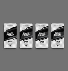 black friday set sale banners for social media vector image
