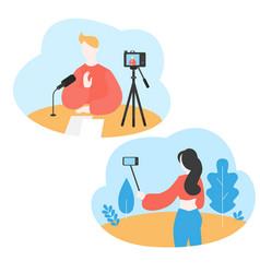 Blogger recording media content using selfie stick vector