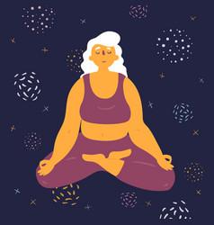 body positive woman makes lotus asana in space vector image
