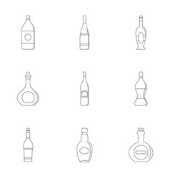 Bottles icon set outline style vector