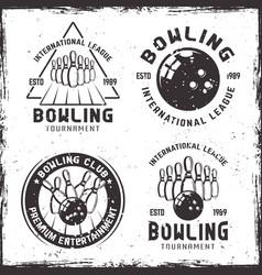 bowling set four vintage emblems or badges vector image