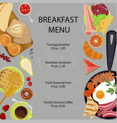 Breakfast menu flat design vector