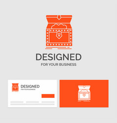 Business logo template for box chest gold reward vector
