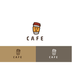 cafe logo with smiley vector image