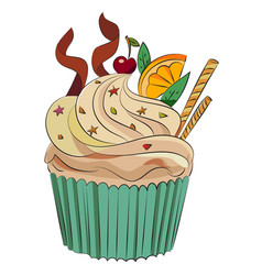 Cartoon image of cupcake vector
