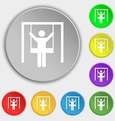 child swinging icon sign Symbol on eight flat vector image
