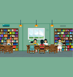 Children in the library vector