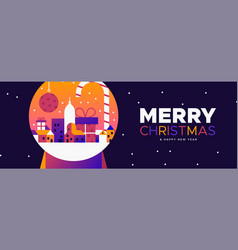 Christmas and new year banner city in snowglobe vector