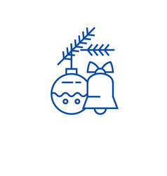 christmas bell decoration ball line icon concept vector image