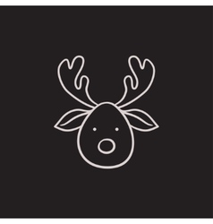 Christmas deer sketch icon vector