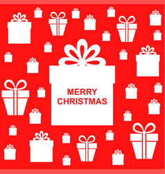 Christmas greeting background with gifts on red vector