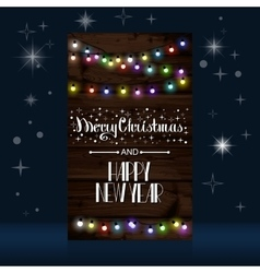 Christmas lights poster with shining vector image