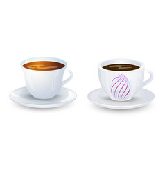 Coffe and tea cup mockup on plate design vector