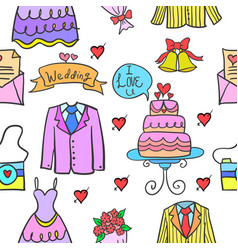 Collection stock of wedding party style doodles vector