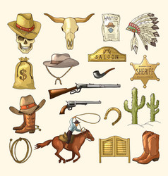 colored wild west symbols vector image