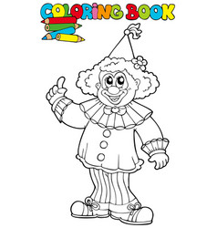 Coloring book with funny clown vector