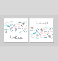 Confetti brush birthday cards vector