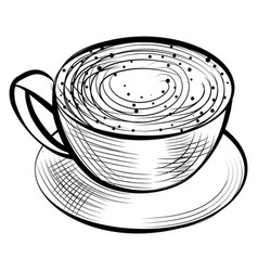 Cup coffee aroma beverage with foam latte vector