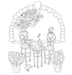 cute birthday tea time in flowers vector image