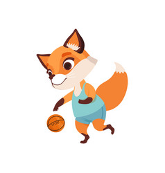 Cute fox character playing basketball funny vector