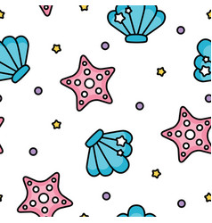 cute shell and starfish sea pastel pattern on vector image
