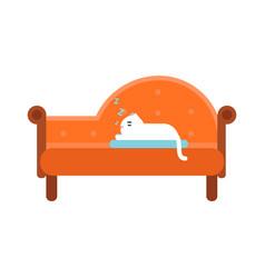 cute white cat lying on an orange sofa home pet vector image