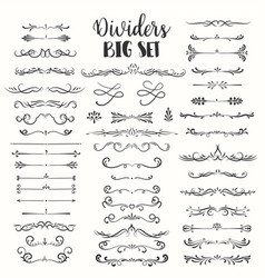 decorative flourishes hand drawn dividers vector image