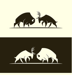 Deer and buffalo bull cut out silhouette vector