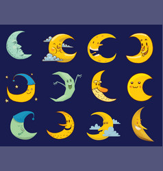different moon cartoon face month vector image