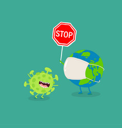 Earth holds corona virus stop sign vector