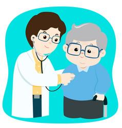 Elderly checkup with doctor cartoon vector