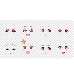 emotions red eyes of anime manga girls vector image