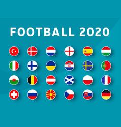 European football 2020 tournament flag set vector