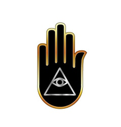 Eye of Providence in hand- religious symbol vector image