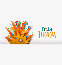 festa junina paper art banner bonfire party vector image