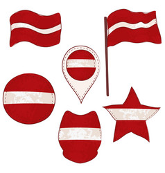 flag of the latvia performed in defferent shapes vector image