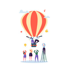 flat business people flying on air balloon vector image