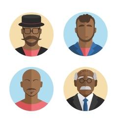 Flat design African American men vector